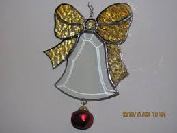 Glass Bell Christmas Ornaments - beveled glass bell christmas ornament with stained glass bow
