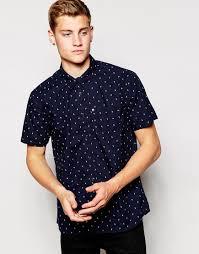bench short sleeve chevron shirt in black for men lyst