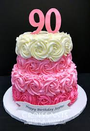 90th birthday cakes girlie 90th birthday cake with logo croissants myrtle