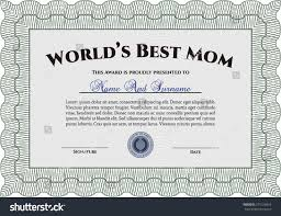 worlds best mom certificate awards template stock vector 271166816