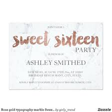 rose gold typography marble sweet 16 card sixteenth birthday