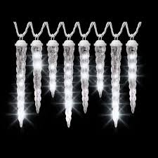 String Lights For Patio Home Depot by Lightshow 8 Light White Shooting Star Varied Size Icicle Light Set