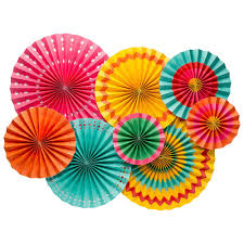 paper fan decorations colourful themed paper fan decorations