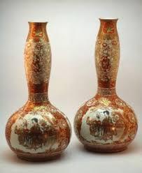 Japanese Kutani Vases Meiji Kutani Vase Signed Master Taniguchi Satsuma Kutani