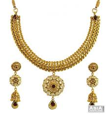 gold bridal set kundan bridal set 22k gold ajst55064 22k gold bridal