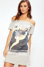 stella grey party bardot t shirt dress