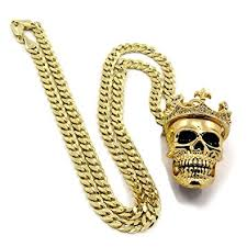 hip necklace chain images Men 39 s 14k gold plated king head skull pendant 24 quot cuban chain hip jpg