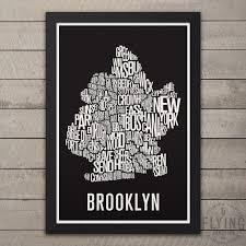 Nyc Neighborhoods Map Brooklyn Nyc Neighborhood Typography City Map U2013 Flying Junction Co