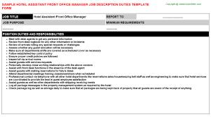 Front Desk Hotel Responsibilities Hotel Assistant Front Office Manager Job Description