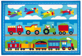 Area Rug For Kids Room by Train Airplanes Construction Trucks Area Rug Blue U0026 Red Medium