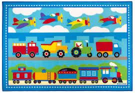 Train Airplanes Construction Trucks Area Rug Blue  Red Medium - Kids room area rugs