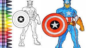 coloring pages captain america learn colors for children youtube