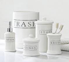 Ceramic Text Bath Accessories Pottery Barn - White plastic bathroom accessories