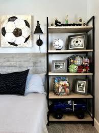 themed shelves industrial style boy soccer themed bedroom diy handmade wood bed