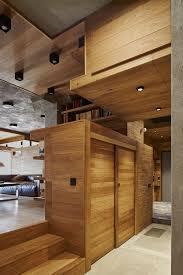 wood partition 175 sqm unique apartment interior design with inserted wood