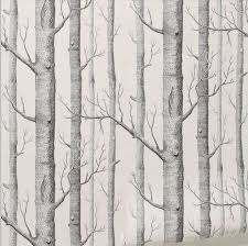tree pattern natural modern wallpaper pearly white black embossed