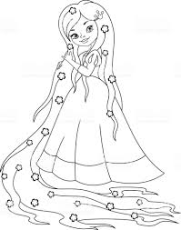 Coloriage Princesse Raiponce  Cliparts vectoriels et plus dimages