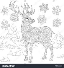 coloring page deer reindeer winter snowflakes stock vector