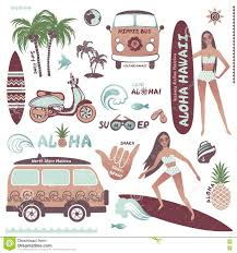 surf car clipart set of vintage style hawaiian summer icons surf hippie stock