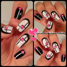 pink and black nail art on we heart it
