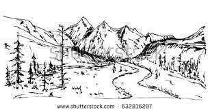 gallery line drawings of mountain scenery drawing art gallery