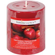 bulk luminessence apple cinnamon scented pillar candles at