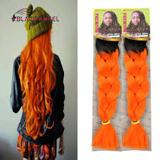 Hairstyles With Jumbo Braiding Hair Two Toned Color Black To Orange Ombre Xpression Ultra Jumbo