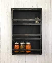 Wall Mount Spice Rack With Jars Rustic Spice Rack Kitchen Shelf Spice Racks Rustic Shelf Mason