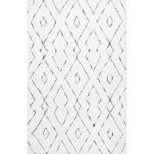 Area Rugs White Tufted Geometric White Area Rug