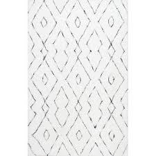 White Area Rug Tufted Geometric White Area Rug