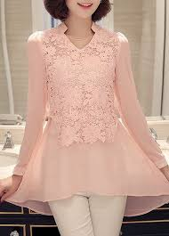 asymmetric hem long sleeve lace panel pink blouse modlily com