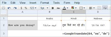translate spreadsheet cells in google docs with a simple function