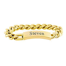 gold personalized bracelets men s gold tone stainless steel id bracelet 8 letters zales