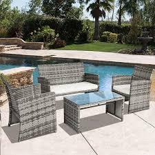 Amazon Com Outdoor Patio Furniture - grey wicker patio table home outdoor decoration