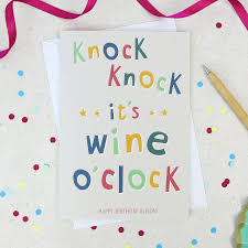 martini birthday card funny gin wine prosecco o u0027clock birthday card by wink design