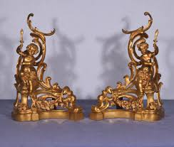 antique french gilt bronze chenet andirons fireplace decorations