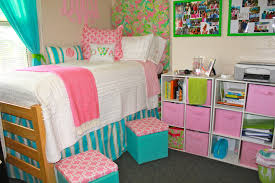 cute pink color accent with small blue pattern bunk bed front nice