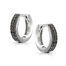 black diamond hoop earrings unisex micro pave black onyx color huggie hoop earrings