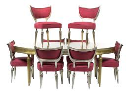 mid century silver leaf dining set expandable table u0026 8 chairs