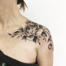black ink peony flower tattoo on left upper shoulder by vitalia