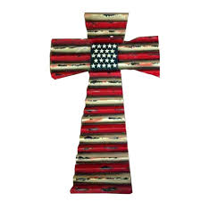 American Flag Design Montana West Western Rustic American Flag Design Metal Wall Cross