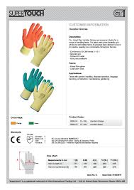 supertouch handler gloves pair conforms to en 388 2003
