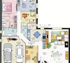 plan villa plain pied 4 chambres ordinary plan maison en v plain pied 9 nos plans maisons columbia