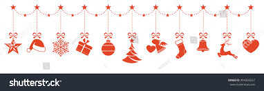 set ornaments hanging border stock vector 494303527