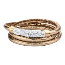 magnetic gold bracelet images Rose gold leather wrap bracelet with clear crystals magnetic clasp jpg