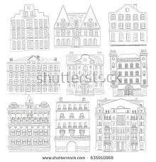 historic old buildings line style outline stock vector 531944011