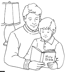 happy fathers day father and son reading the bible coloring page