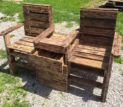 Outdoor Patio Pallet Furniture - upcycled pallet double chair bench
