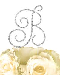 b cake topper collection rhinestone monogram cake topper in silver