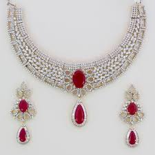 diamond ruby necklace sets images American diamond sets rare international jpg